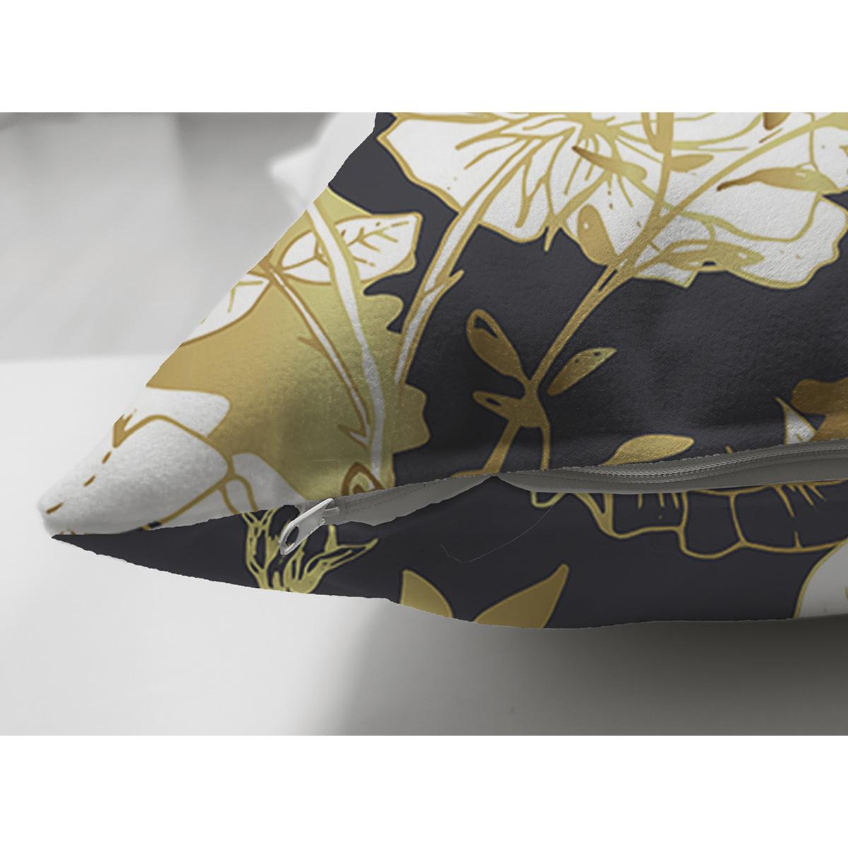 Çift Taraflı Sıyah Zeminli Gold Detaylı Gul Yaprakları Süet Yastık Kırlent Kılıfı Realhomes