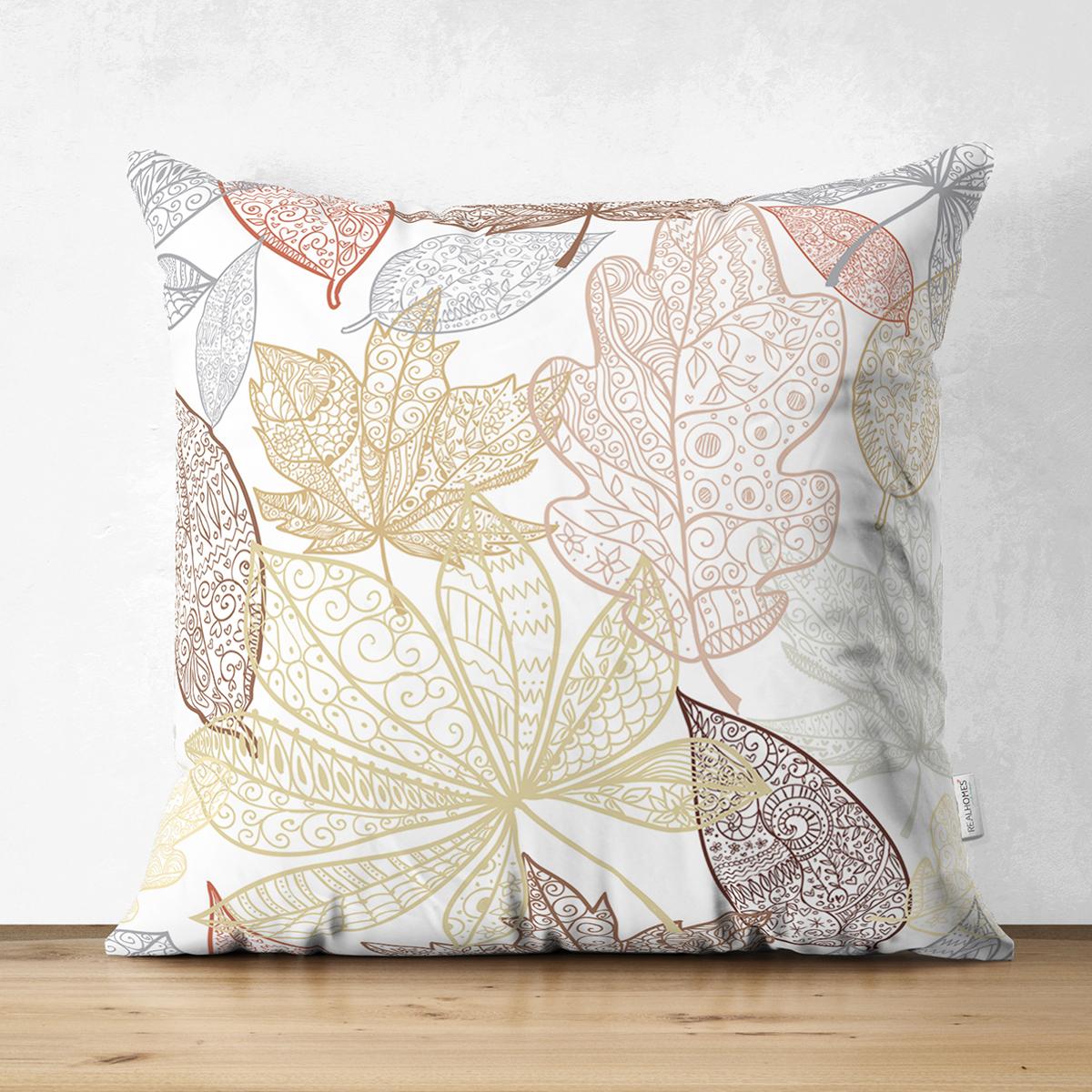 Çift Taraflı Beyaz Zemınli Soft Renkli Yapraklı Dijital Baskılı Modern Süet Yastık Kırlent Kılıfı Realhomes