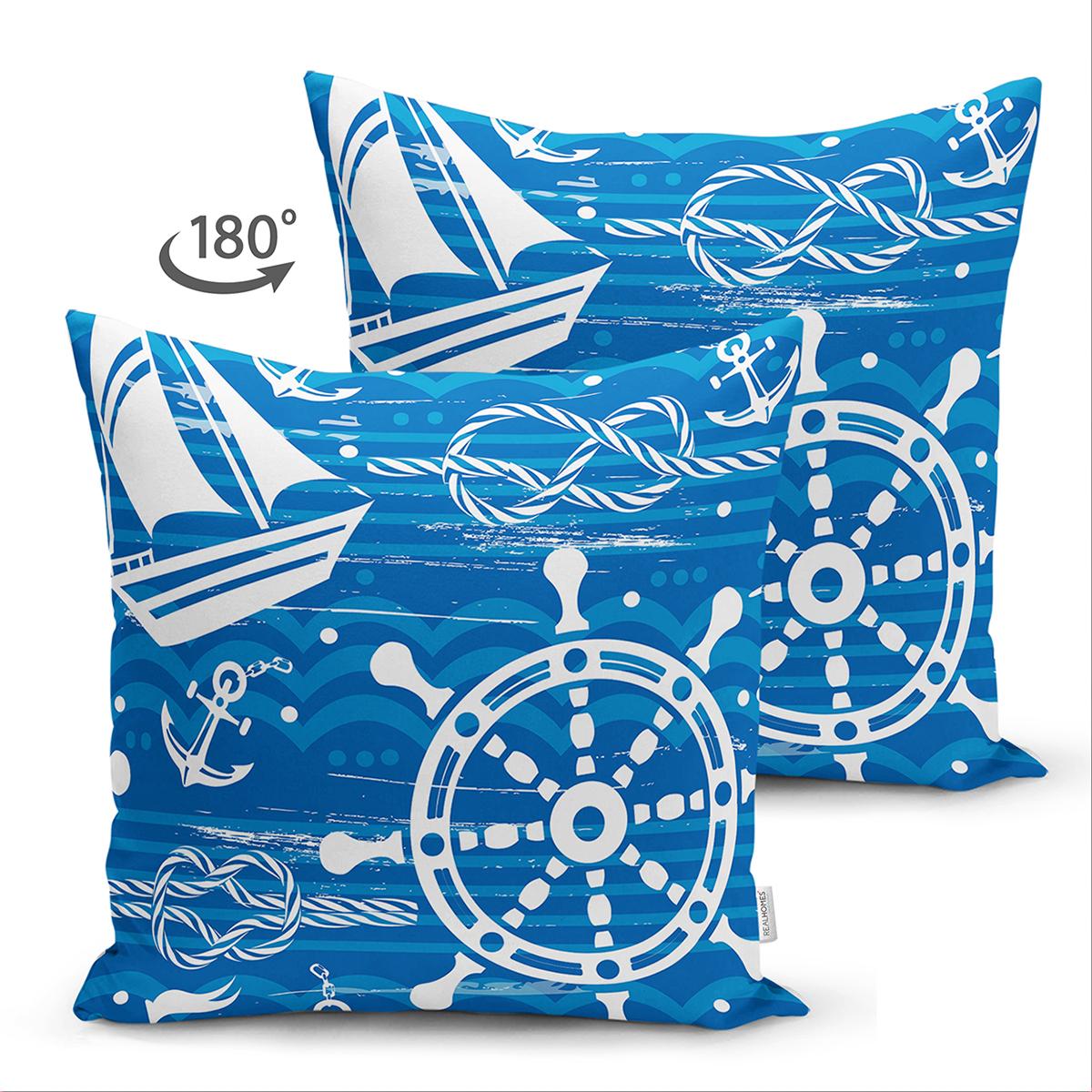 Çift Taraflı Mavi Beyaz Zeminli Deniz Yıldızı Desenli Dijital Baskılı Modern Süet Yastık Kılıfı Realhomes