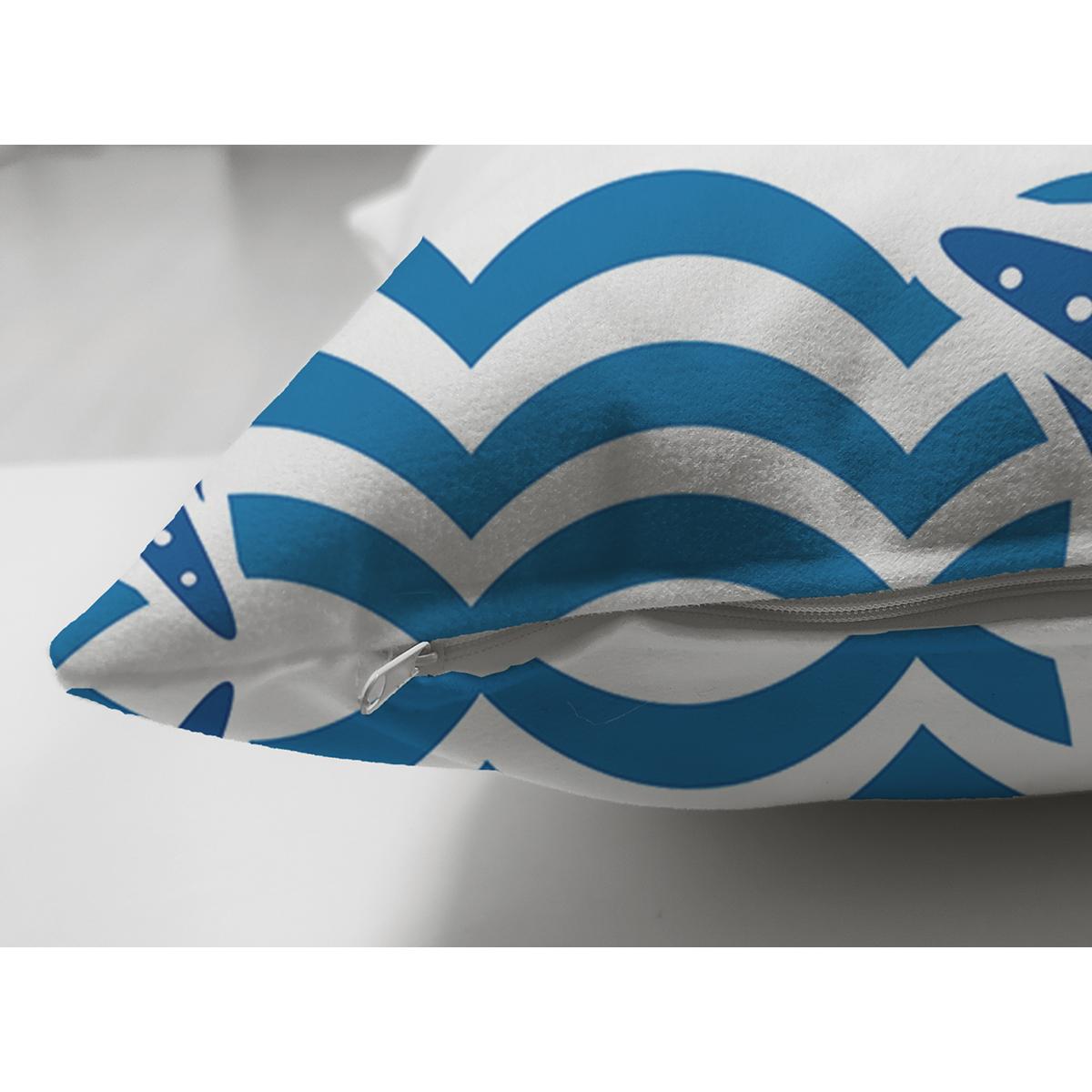 Çift Taraflı Mavi Zeminli Deniz Feneri Desenli Dijital Baskılı Modern Süet Yastık Kırlent Kılıfı Realhomes