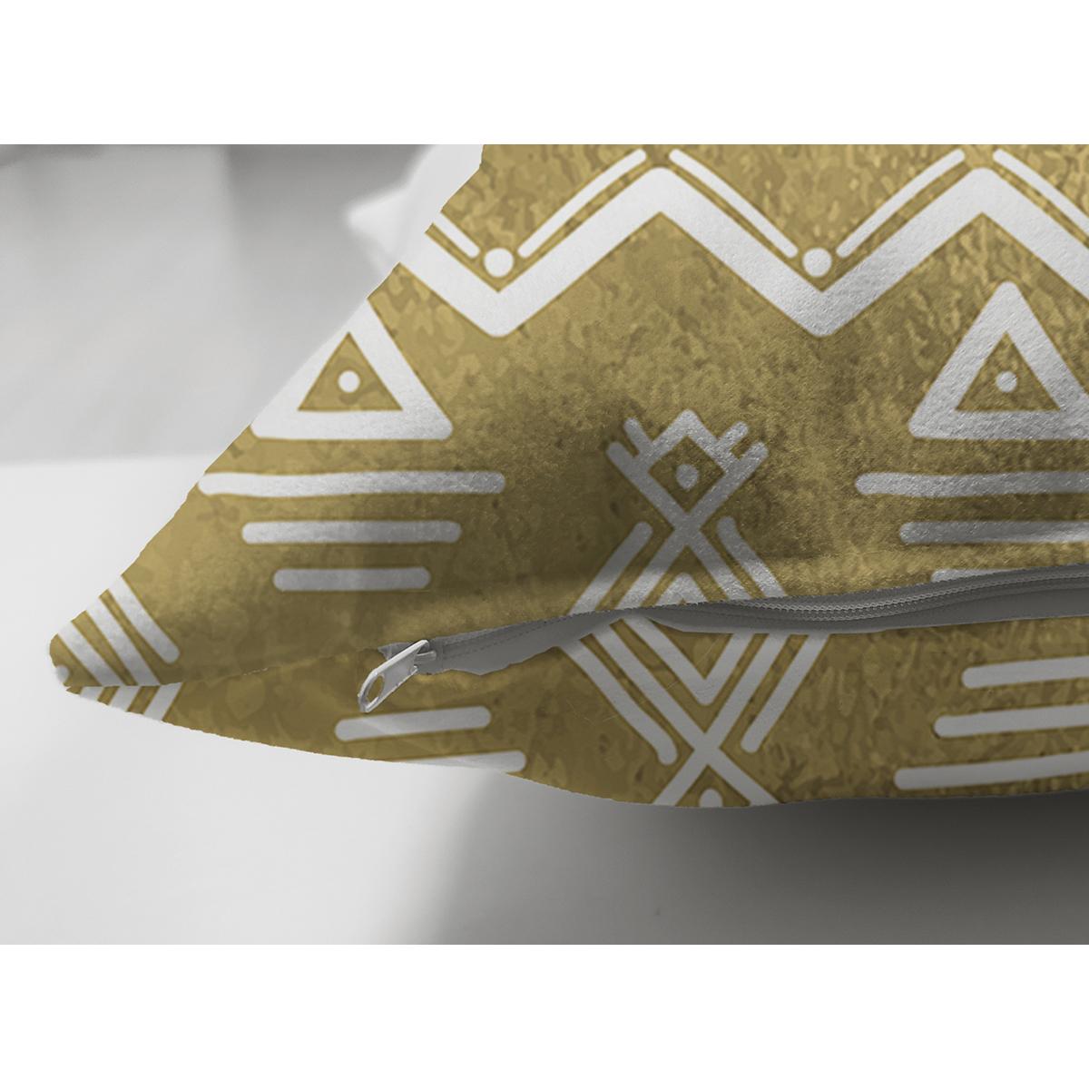Çift Taraflı Gold Zeminde Beyaz Bohem Çizimli Dijital Baskılı Modern Süet Yastık Kırlent Kılıfı Realhomes