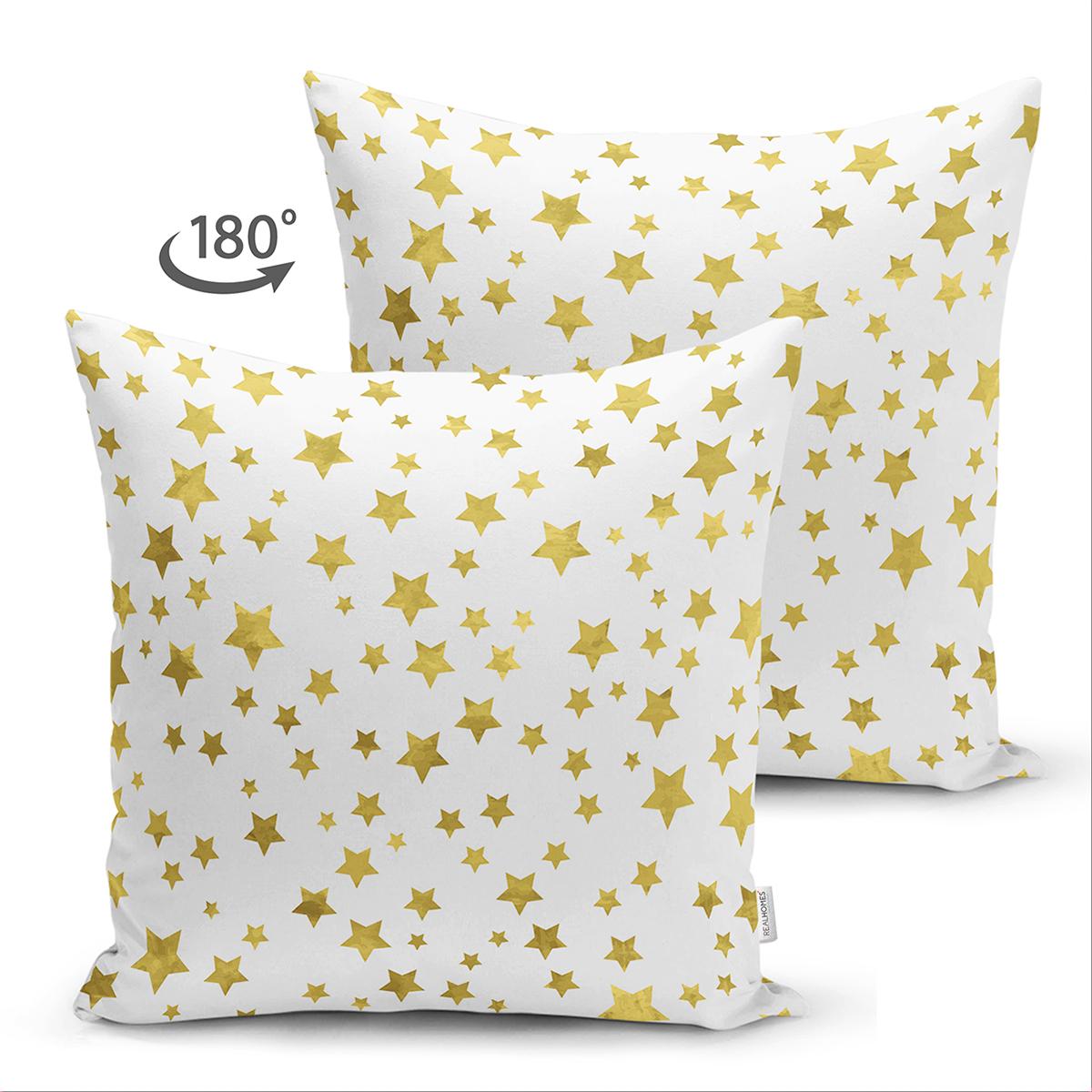Çift Taraflı Beyaz Zeminli Gold Renkli Çoklu Yıldız Detayli Modern Süet Yastık Kırlent Kılıfı Realhomes