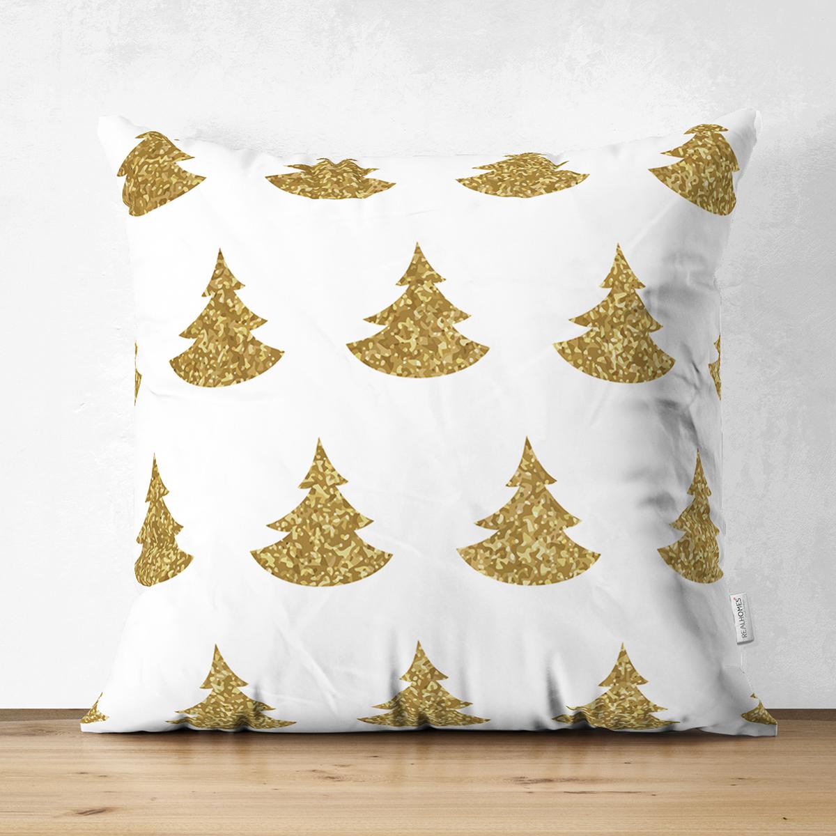 Çift Taraflı Beyaz Zeminde Gold Renkli Çam Ağacı Desenli Dijital Baskılı Modern Süet Kırlent Kılıfı Realhomes