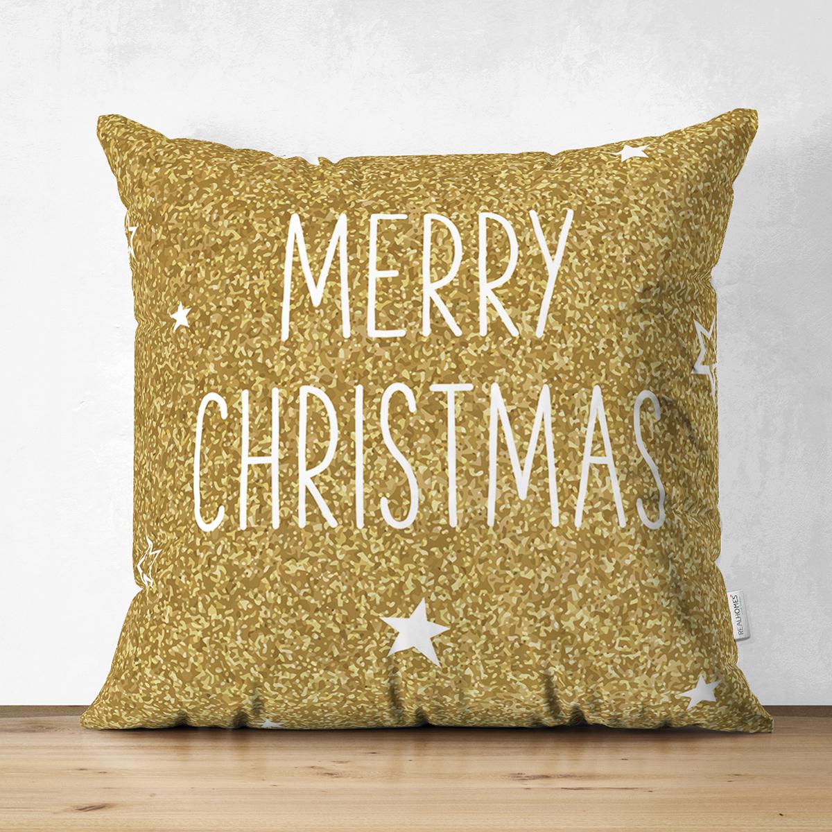 Çift Taraflı Gold Zeminde Merry Christmas Yazılı Dijital Baskılı Modern Süet Yastık Kırlent Kılıfı Realhomes