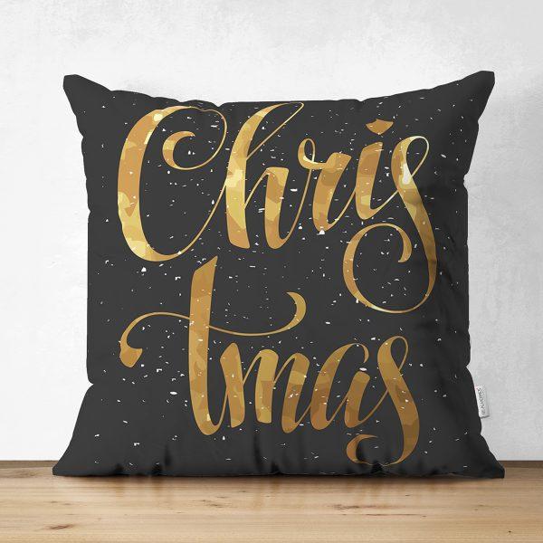 Çift Taraflı Siyah Zeminde Gold Renkli Christmas Yazılı Dijital Baskılı Modern Süet Kırlent Kılıfı Realhomes