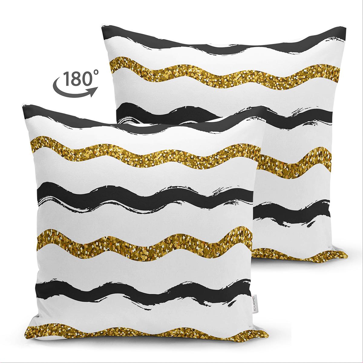 Çift Taraflı Beyaz Zemin Üzerinde Gold Ve Siyah Renkli Çizgiler Modern Süet Yastık Kırlent Kılıfı Realhomes