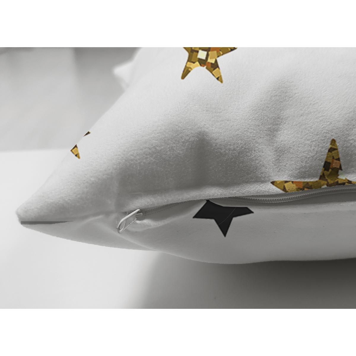 Çift Taraflı Beyaz Zemin Üzerinde Gold Yıldızlı Dijital Baskılı Modern Süet Yastık Kırlent Kılıfı Realhomes