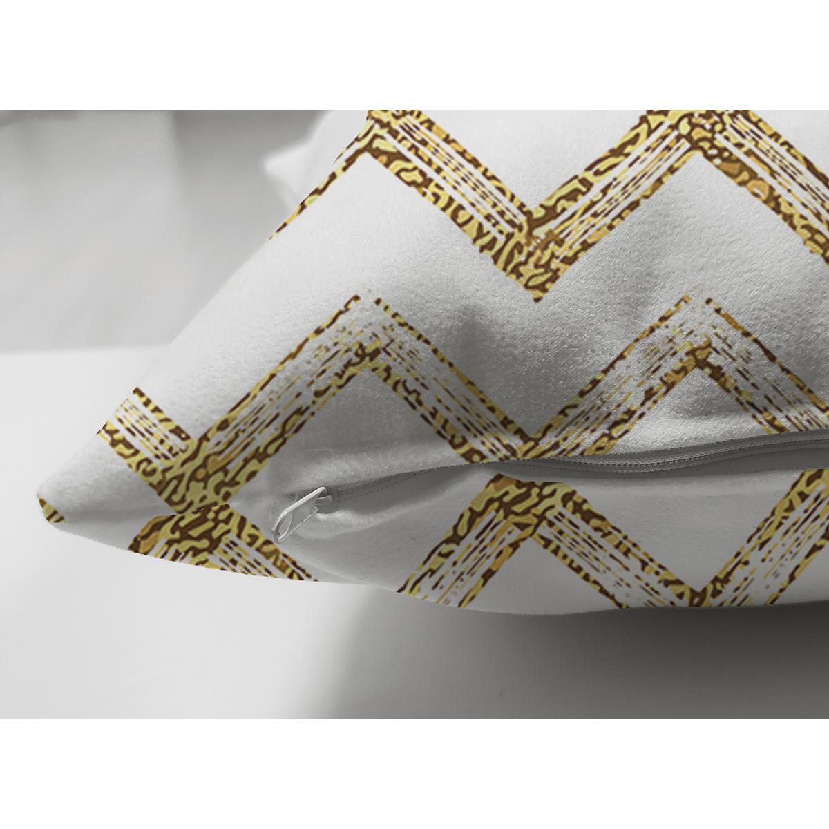 Çift Taraflı Beyaz Zeminde Gold Zigzag Desenli Dijital Baskılı Modern Süet Yastık Kırlent Kılıfı Realhomes