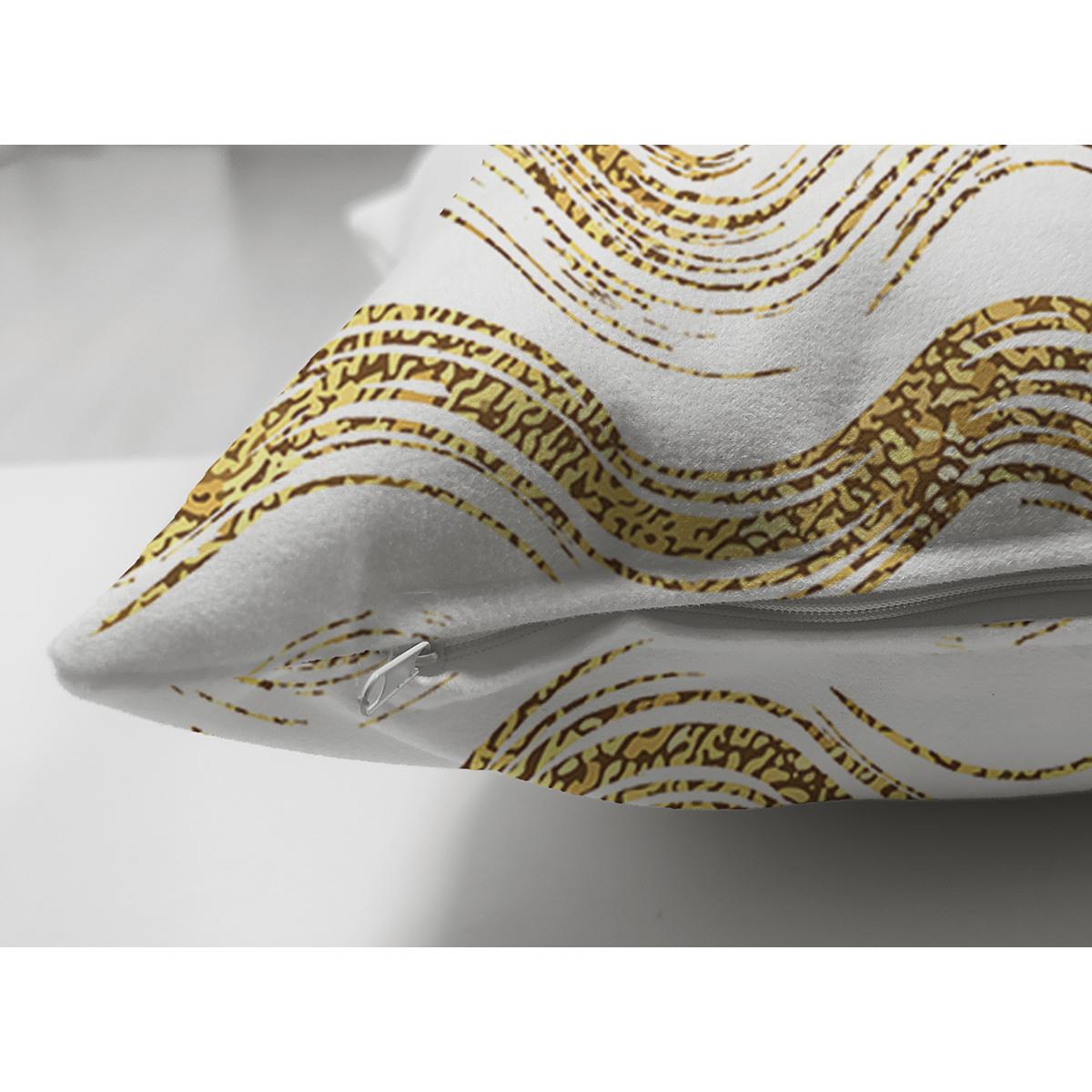 Çift Taraflı Beyaz Zeminde Gold Çizgili Dijital Baskılı Modern Süet Yastık Kırlent Kılıfı Realhomes