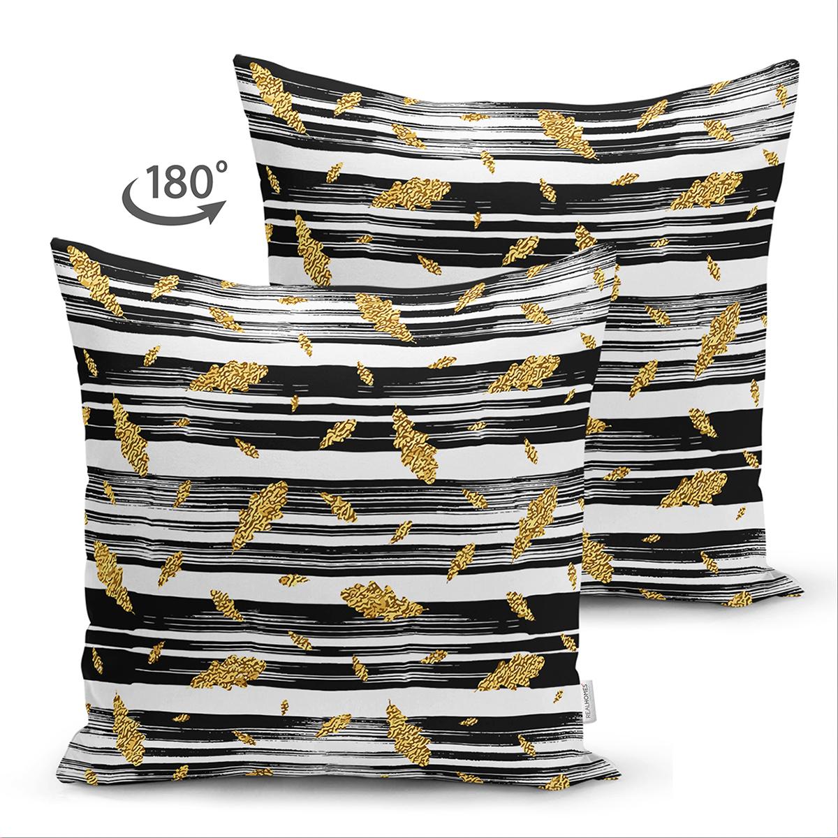 Çift Taraflı Siyah Beyaz Zeminli Gold Yaprak Desenli Dijital Baskılı Modern Süet Yastık Kılıfı Realhomes