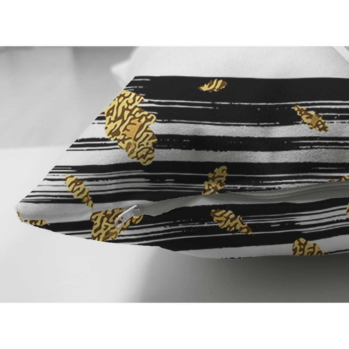 Çift Taraflı Siyah Beyaz Zeminde Gold Yapraklı Thanks Yazılı Modern Süet Yastık Kırlent Kılıfı Realhomes
