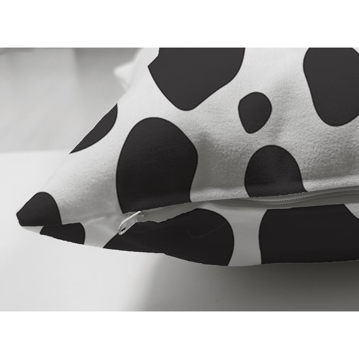 Çift Taraflı Beyaz Zeminli Siyah Puantiye Desenli Dijital Baskılı Modern Süet Yastık Kırlent Kılıfı Realhomes