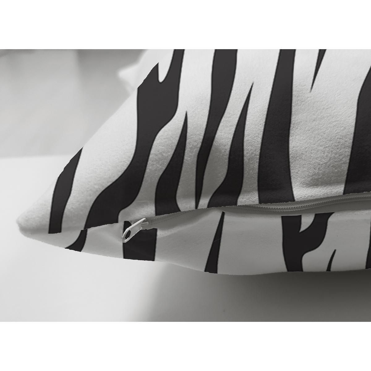 Çift Taraflı Beyaz Zeminli Siyah Çizgi Desenli Dijital Baskılı Modern Süet Yastık Kırlent Kılıfı Realhomes