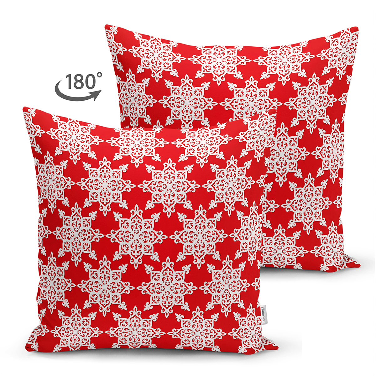 Çift Taraflı Kırmızı Zemin Üzerinde Beyaz Kartanesi Desenli Modern Süet Yastık Kırlent Kılıfı Realhomes
