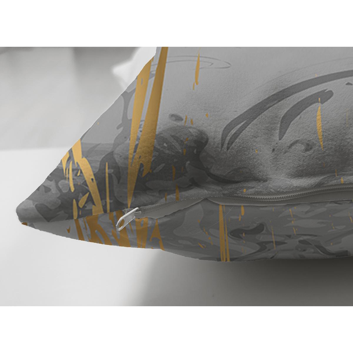 Çift Taraflı Antrasit Zemin Üzerinde Gold Detaylı Çizim Desenli Modern Süet Yastık Kırlent Kılıfı Realhomes