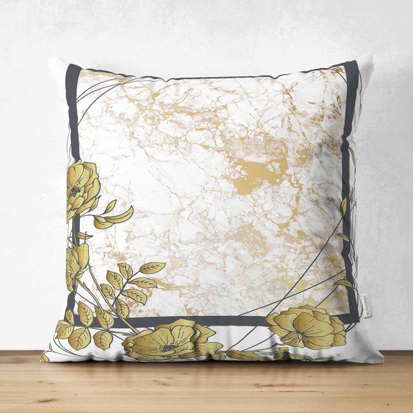 Çift Taraflı Beyaz Zemin Üzerinde Gold Renkli Gul Yaprakları Modern Süet Yastık Kırlent Kılıfı Realhomes