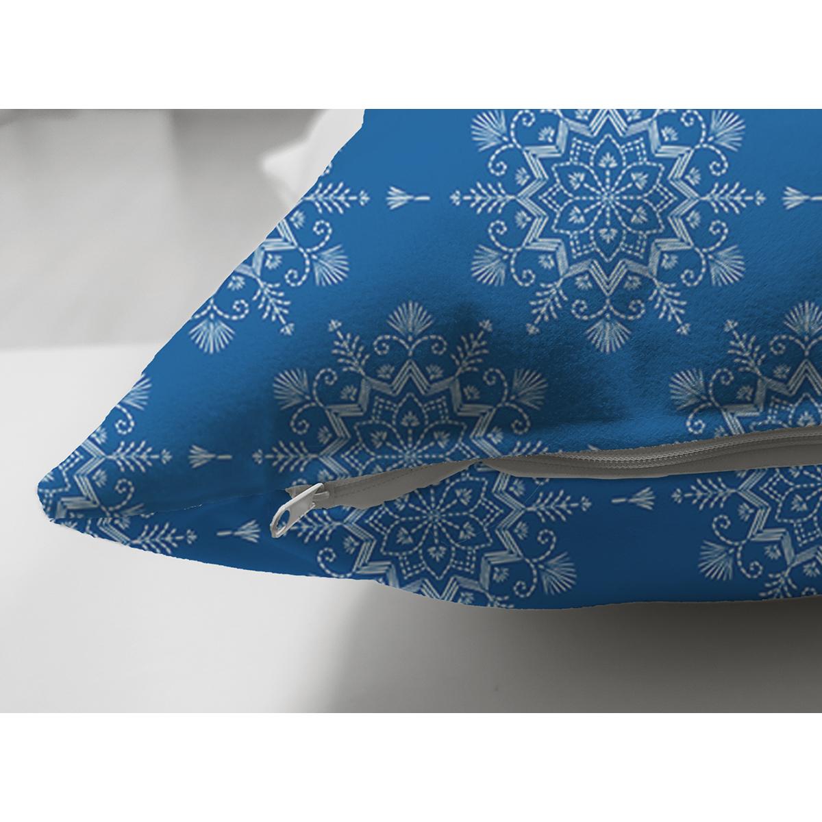 Çift Taraflı Mavi Zeminli Kartanesi Desenli Dijital Baskılı Modern Süet Yastık Kırlent Kılıfı Realhomes