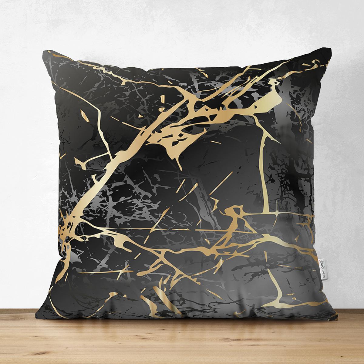 Çift Taraflı Siyah Zeminde Gold Renkli Çizim Desenli Dijital Baskılı Modern Süet Yastık Kılıfı Realhomes