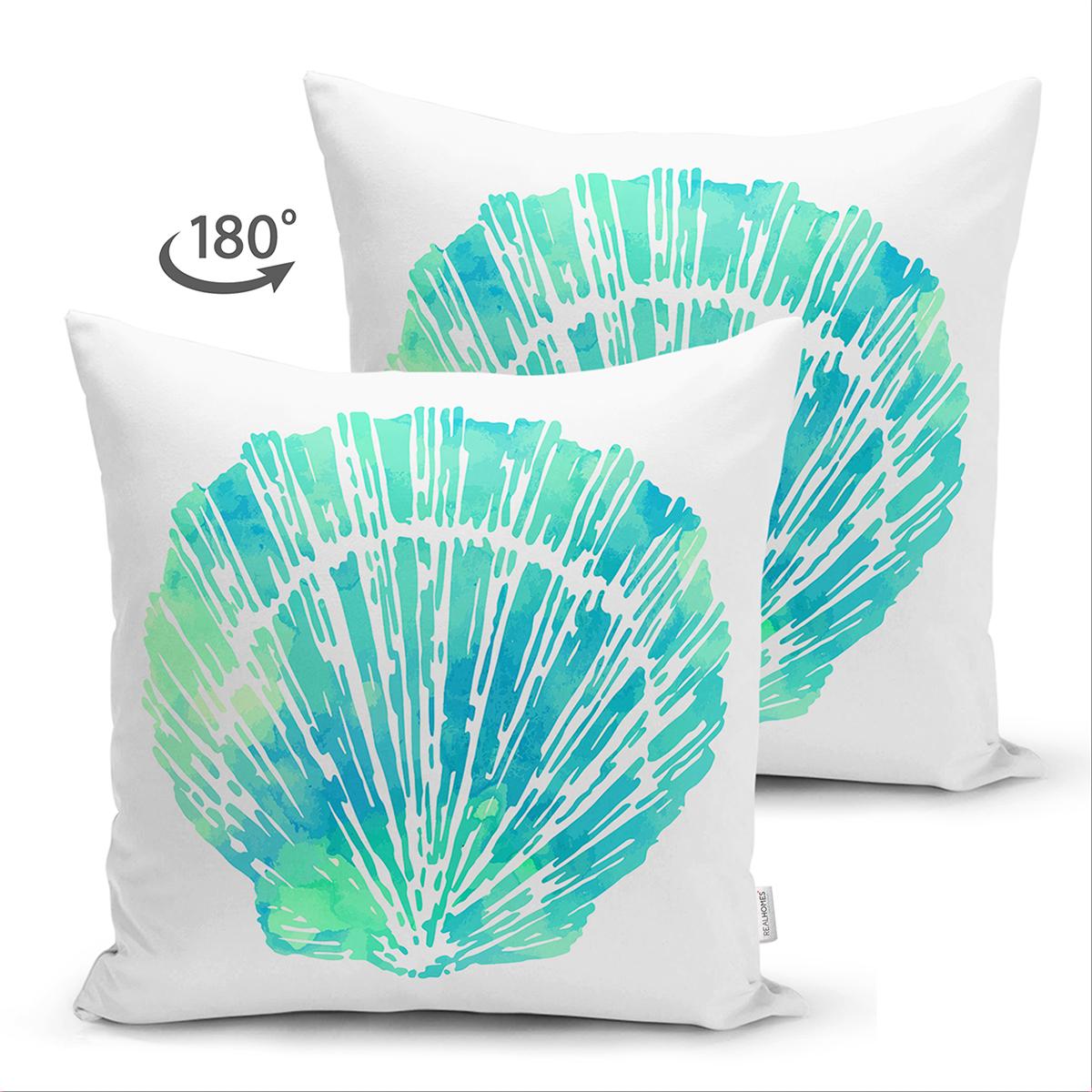 Çift Taraflı Beyaz Zeminde Yeşil Renkli Deniz Kabuğu Desenli Modern Süet Yastık Kırlent Kılıfı Realhomes