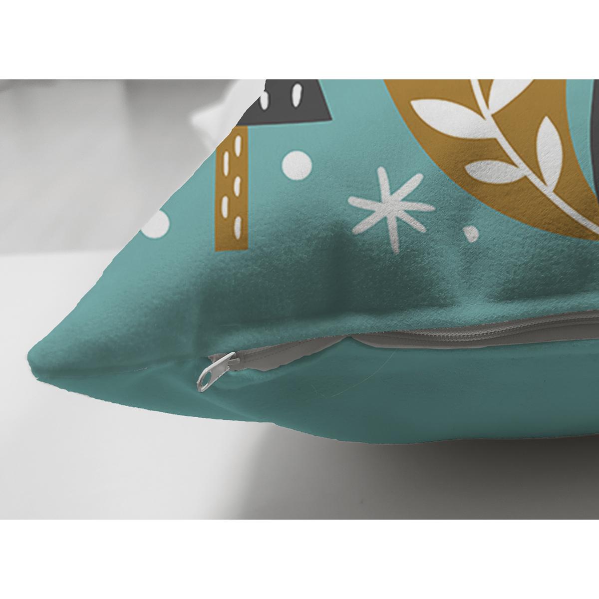 Çift Taraflı Renkli Zeminde Sincap Desenli Dijital Baskılı Modern Süet Yastık Kırlent Kılıfı Realhomes