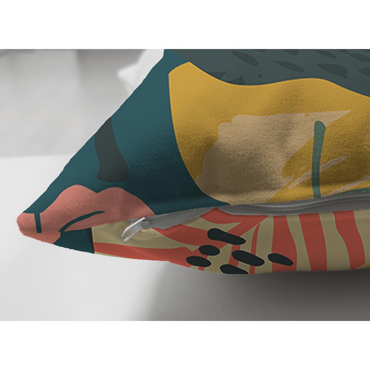 Çift Taraflı Renkli Zeminli Koyu Renkli Yapraklar Dijital Baskılı Modern Süet Yastık Kırlent Kılıfı Realhomes