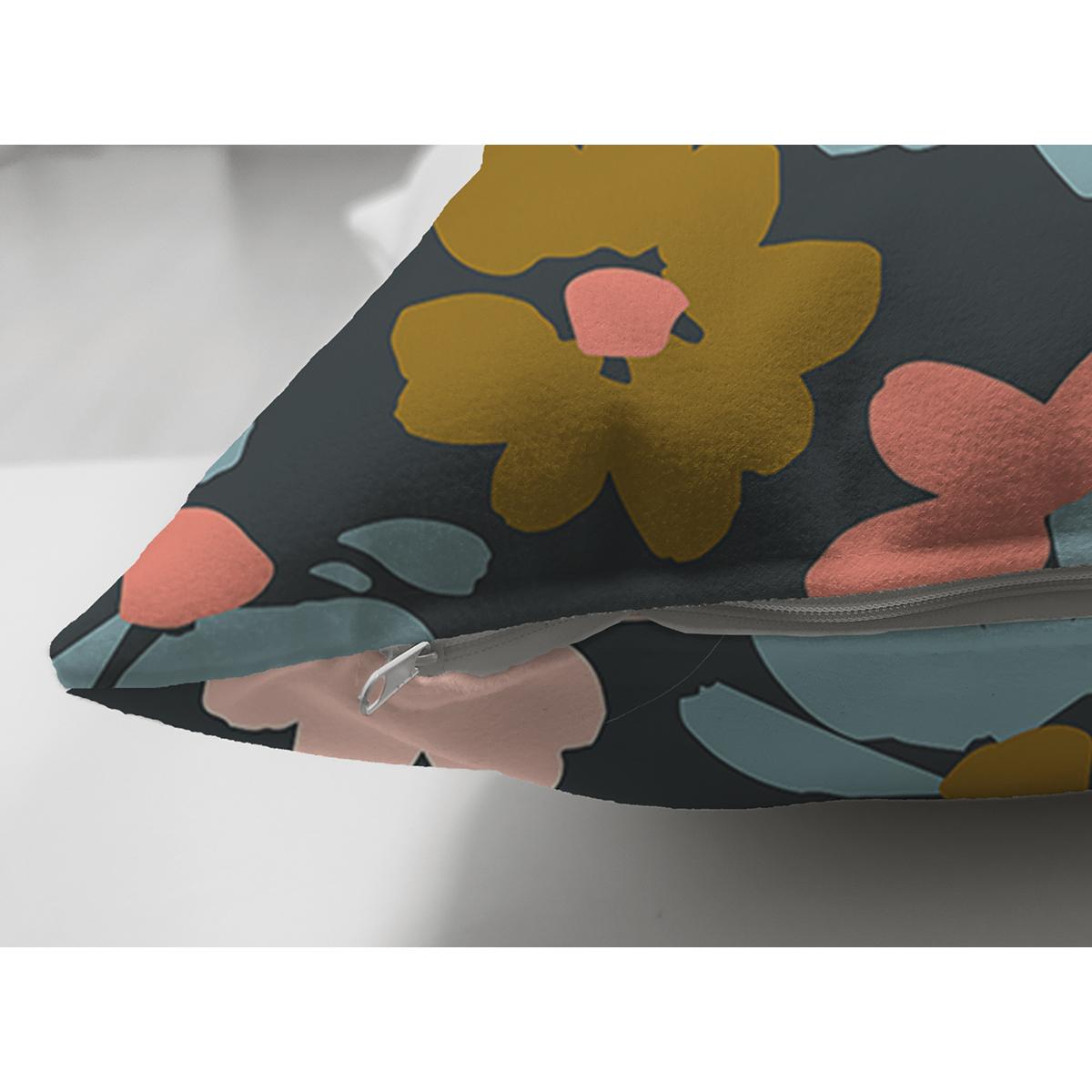 Çift Taraflı Siyah Zemin Üzerinde Renkli Çiçek Desenli Süet Yastık Kırlent Kılıfı Realhomes