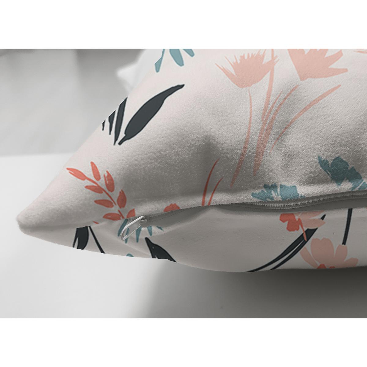 Çift Taraflı Beyaz Zeminde Renkli Çiçek Desenli Dijital Baskılı Modern Süet Yastık Kırlent Kılıfı Realhomes