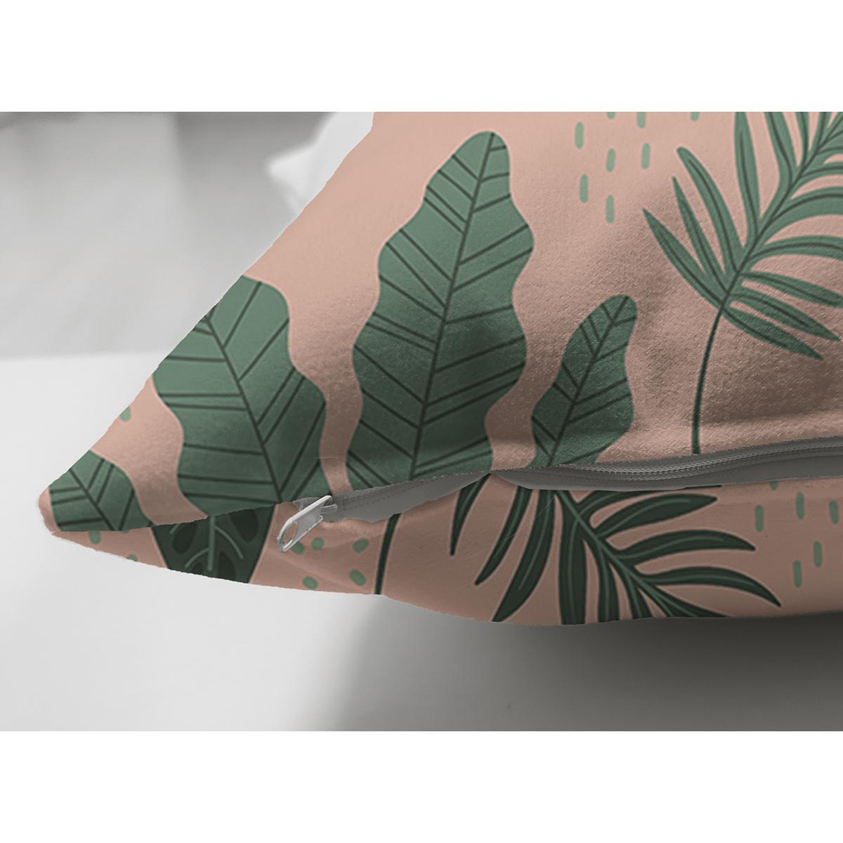 Çift Taraflı Pudra Zemin Üzerinde Yeşil Yapraklı Dijital Baskılı Modern Süet Yastık Kırlent Kılıfı Realhomes