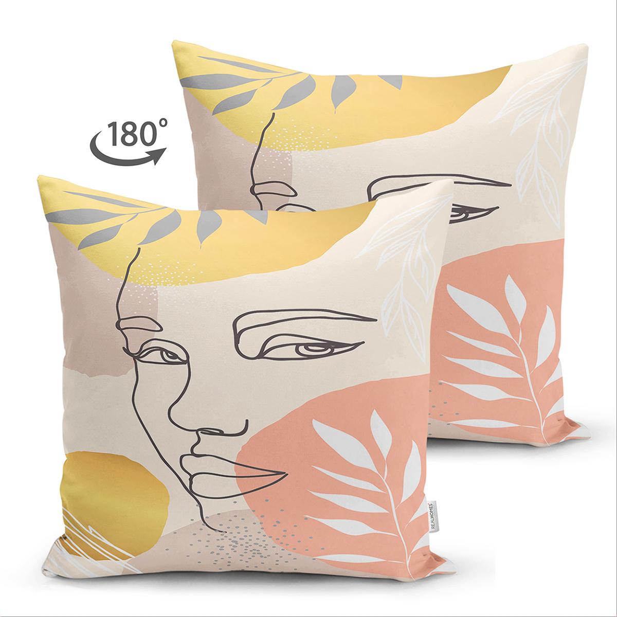 Çift Taraflı Soft Renkli Zeminli Bayan Silüeti Dijital Baskılı Modern Süet Yastık Kırlent Kılıfı Realhomes