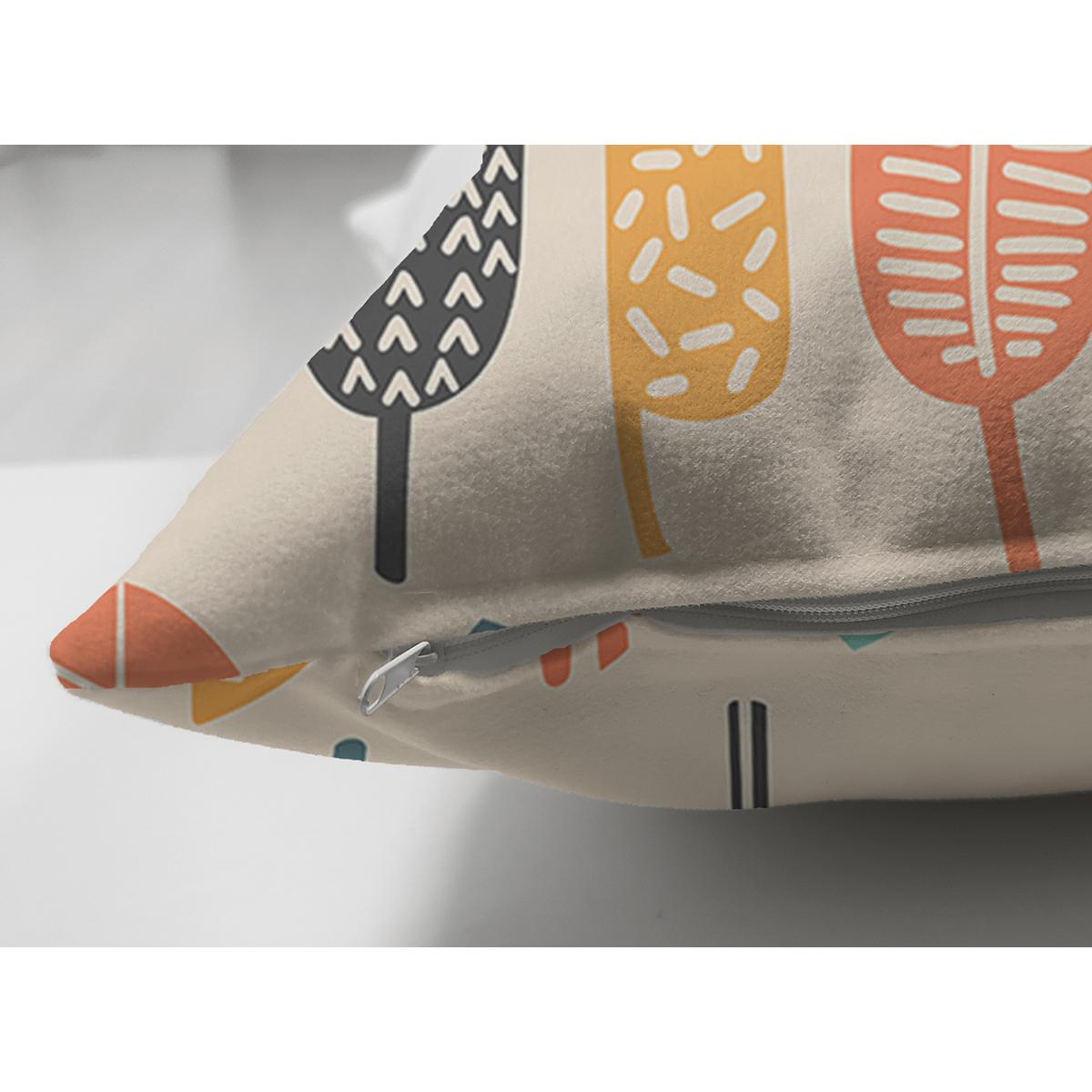 Çift Taraflı Krem Zemin Üzerinde Yaprak Desenli Dijital Baskılı Modern Süet Yastık Kırlent Kılıfı Realhomes