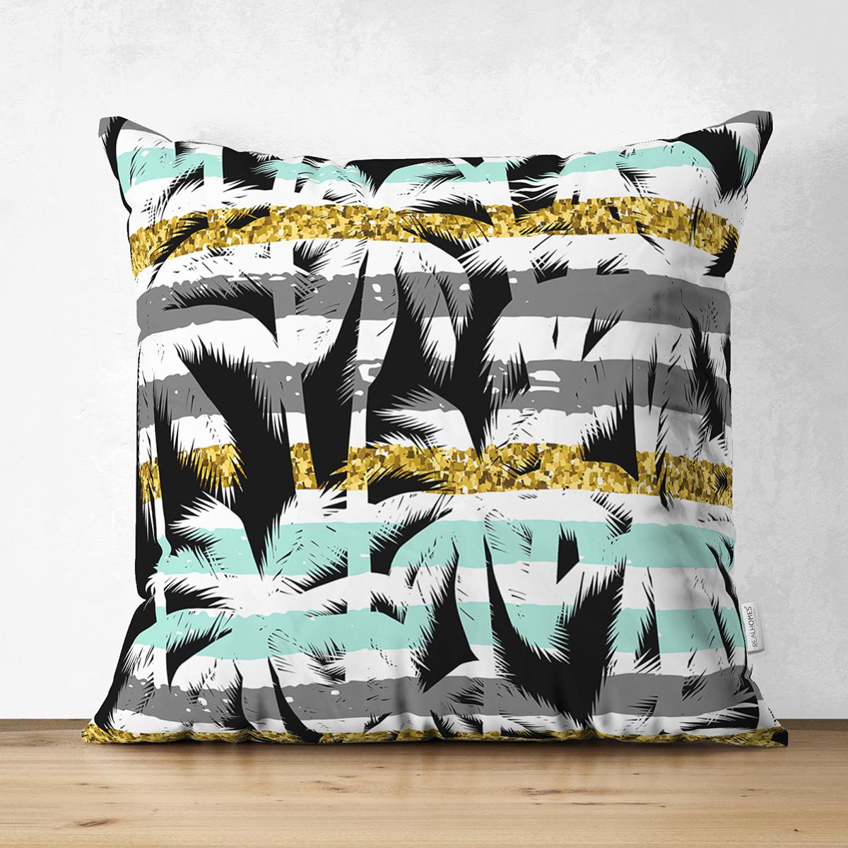 Çift Taraflı Beyaz Zemin Üzerinde Renkli Çizgli Yaprak Desenli Modern Süet Yastık Kırlent Kılıfı Realhomes