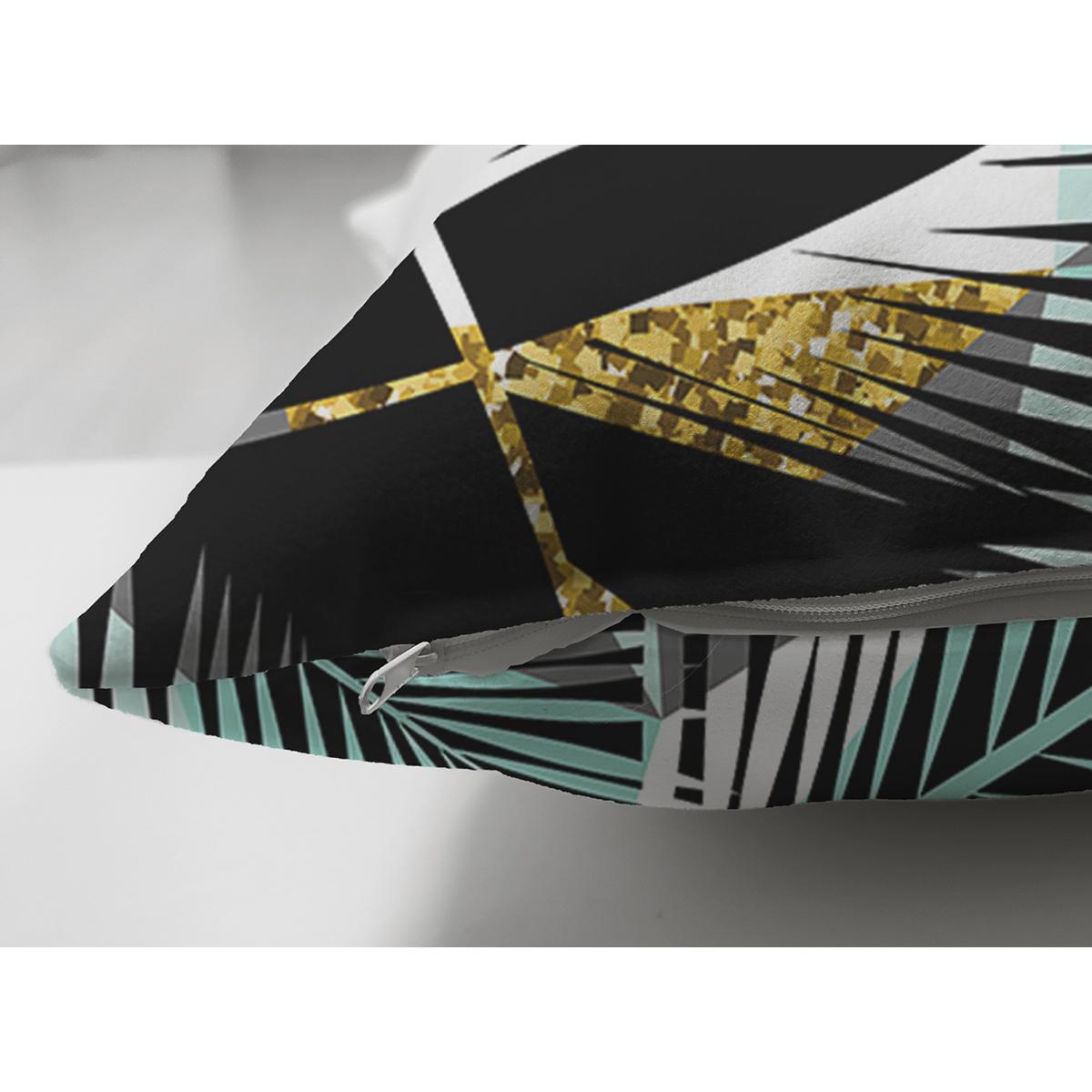Çift Taraflı Siyah Zemin Üzerinde Yaprak Desenli Dijital Baskılı Modern Süet Yastık Kırlent Kılıfı Realhomes