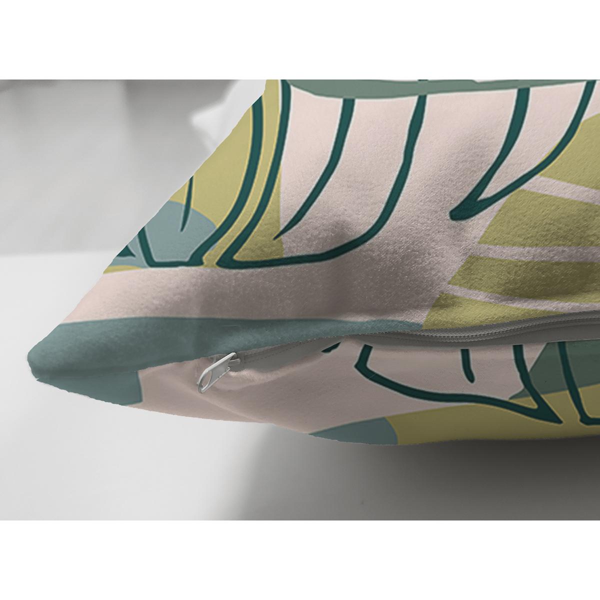 Çift Taraflı Soft Renkli Zemin Üzerinde Onedraw Çizimli Yaprak Motifli Süet Yastık Kırlent Kılıfı Realhomes
