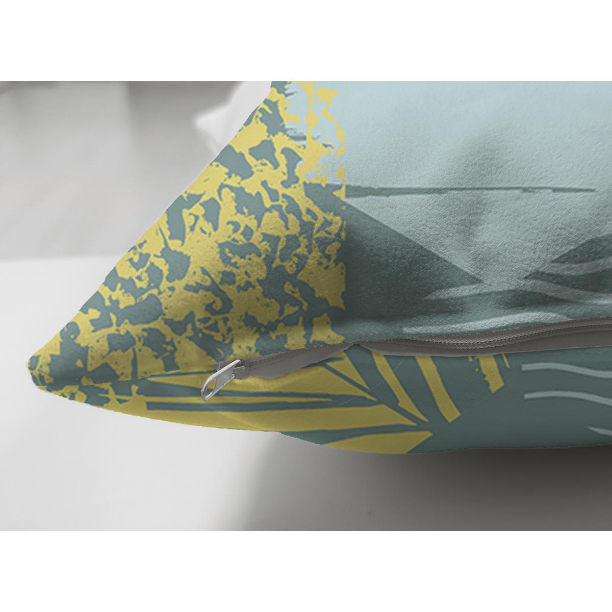 Çift Taraflı Renkli Zemin Üzerinde Onedraw Çizimli Yaprak Motifli Süet Yastık Kırlent Kılıfı Realhomes