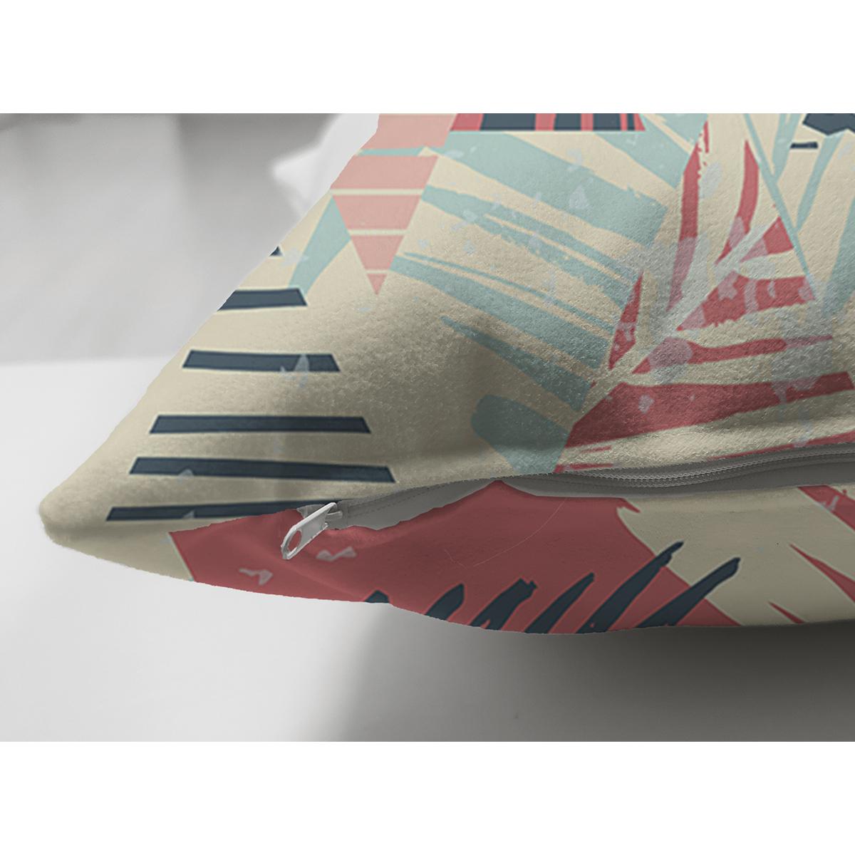 Çift Taraflı Renkli Zemin Üzerinde Üçgen Desenli Dijital Baskılı Modern Süet Yastık Kırlent Kılıfı Realhomes