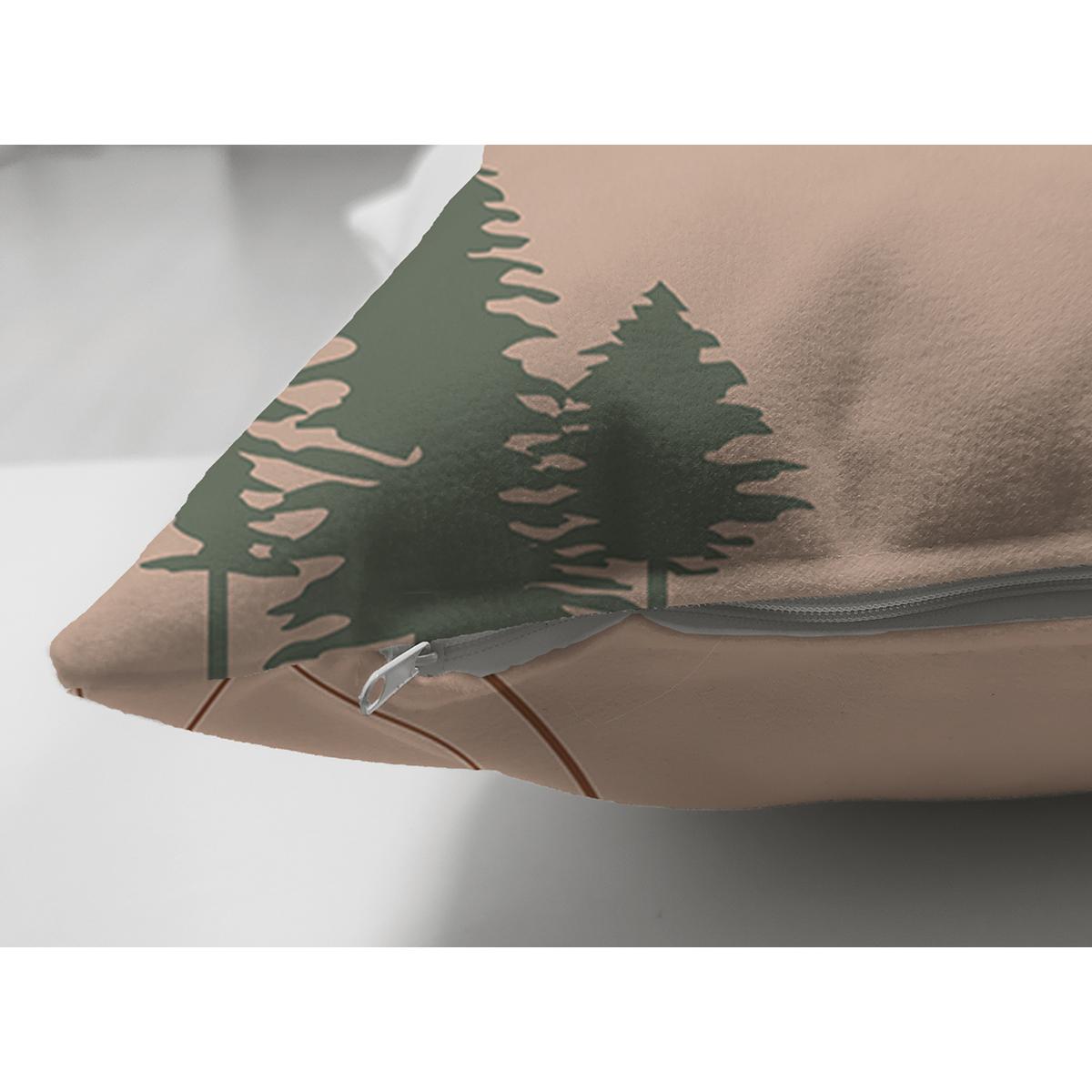 Çift Taraflı Pastel Renkli Onedraw Yaprak Resimli Dijital Baskılı Modern Süet Yastık Kırlent Kılıfı Realhomes