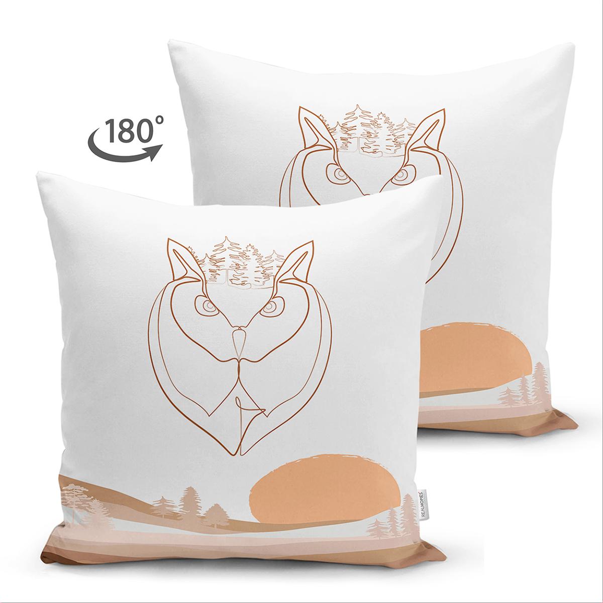 Çift Taraflı Beyaz Zemin Üzerinde Onedraw Çizimli Baykuş Desenli Süet Yastık Kırlent Kılıfı Realhomes