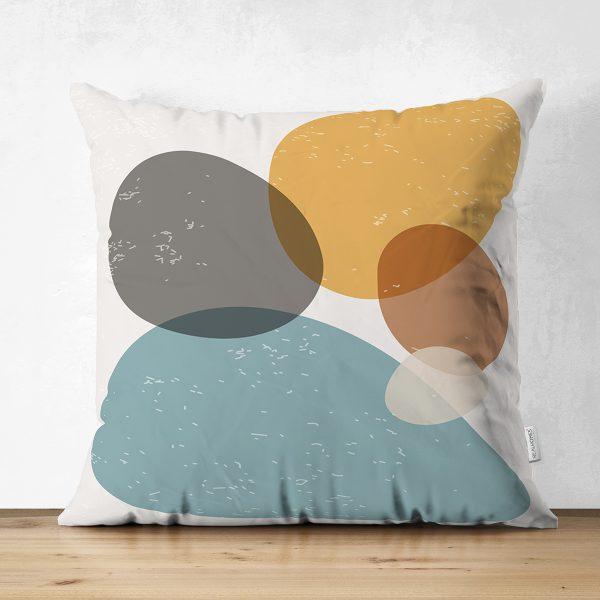 Çift Taraflı Renkli Zemin Üzerinde Onedraw Çizimli Oval Desenli Modern Süet Yastık Kırlent Kılıfı Realhomes