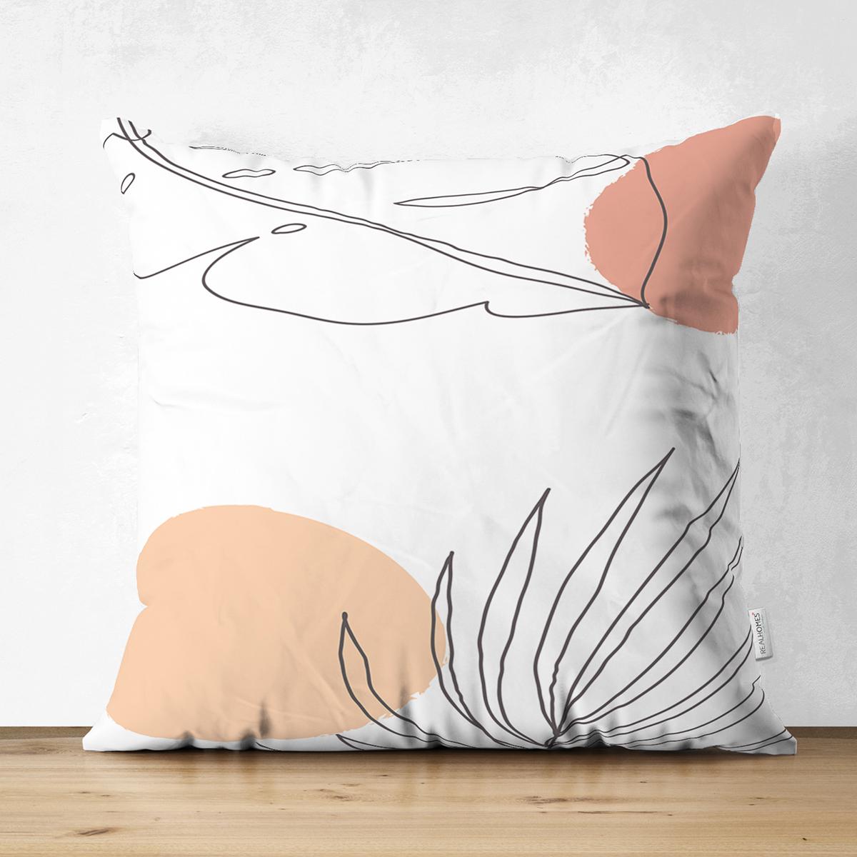 Çift Taraflı Beyaz Zemin Üzerinde Onedraw Çizimli Yaprak Motifli Süet Yastık Kırlent Kılıfı Realhomes