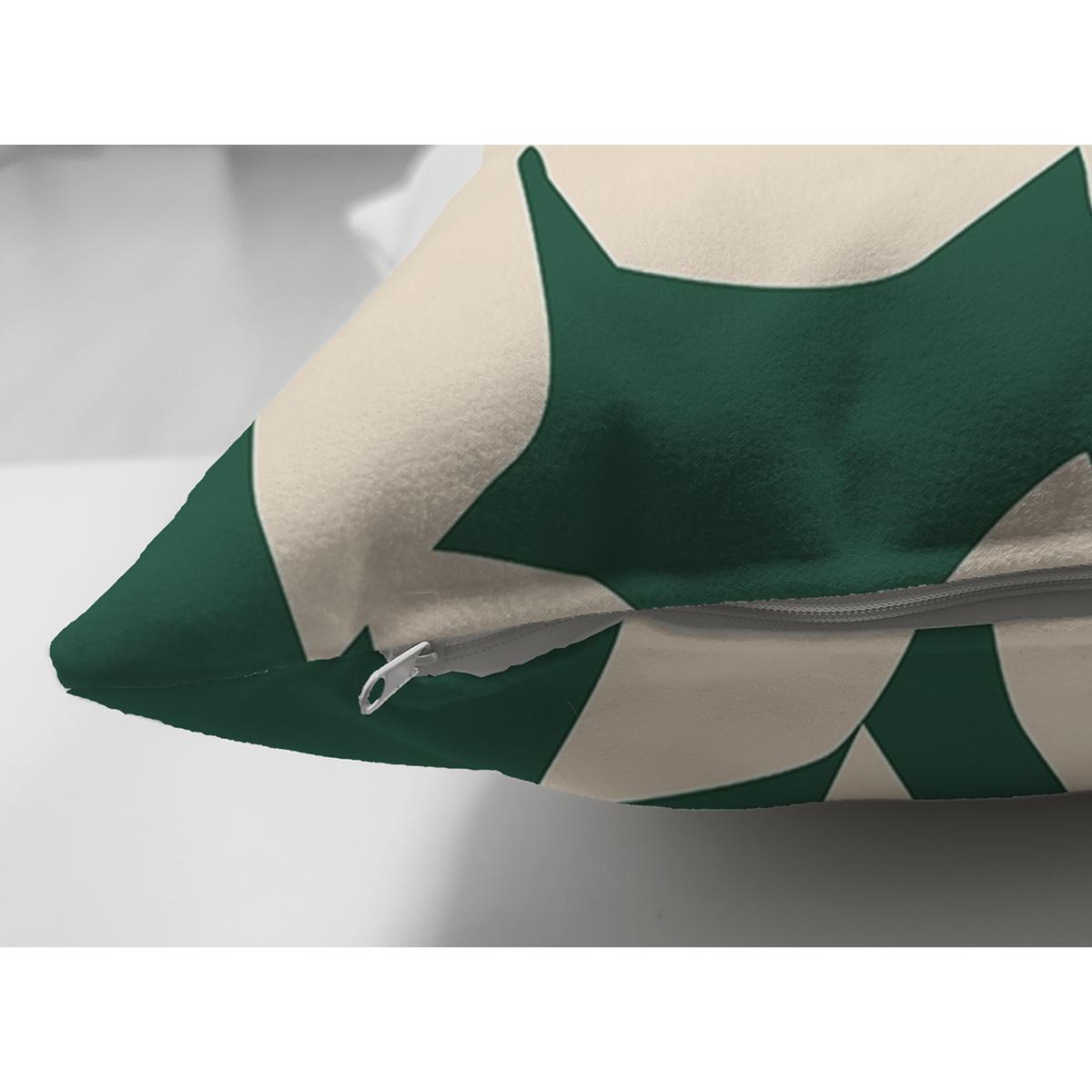 Çift Taraflı Yeşil Zeminde Yaprak Desenli Dijital Baskılı Modern Süet Yastık Kırlent Kılıfı Realhomes