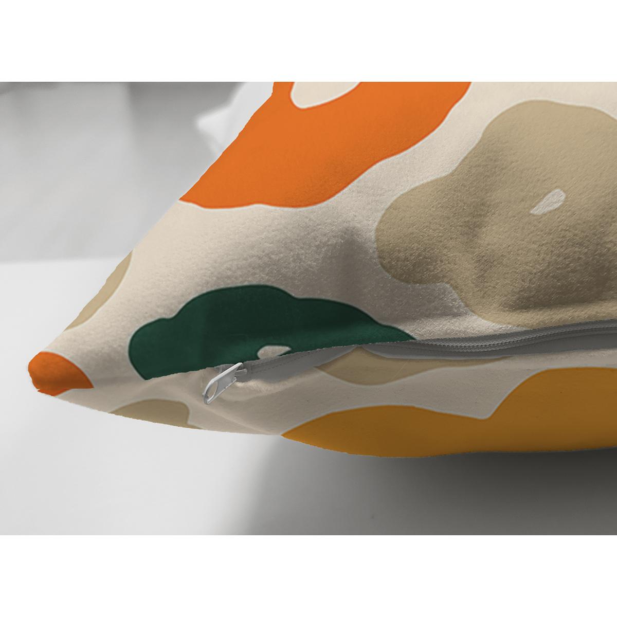 Çift Taraflı Renkli Zeminde Onedraw Çizimli Dijital Baskılı Modern Süet Yastık Kırlent Kılıfı Realhomes