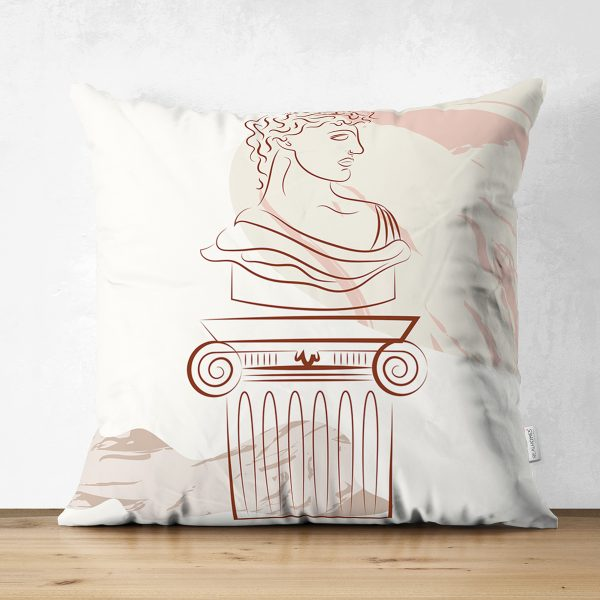 Çift Taraflı Beyaz Zeminde Onedraw Çizimli Antik Desenli Dijital Baskılı Modern Süet Yastık Kılıfı Realhomes