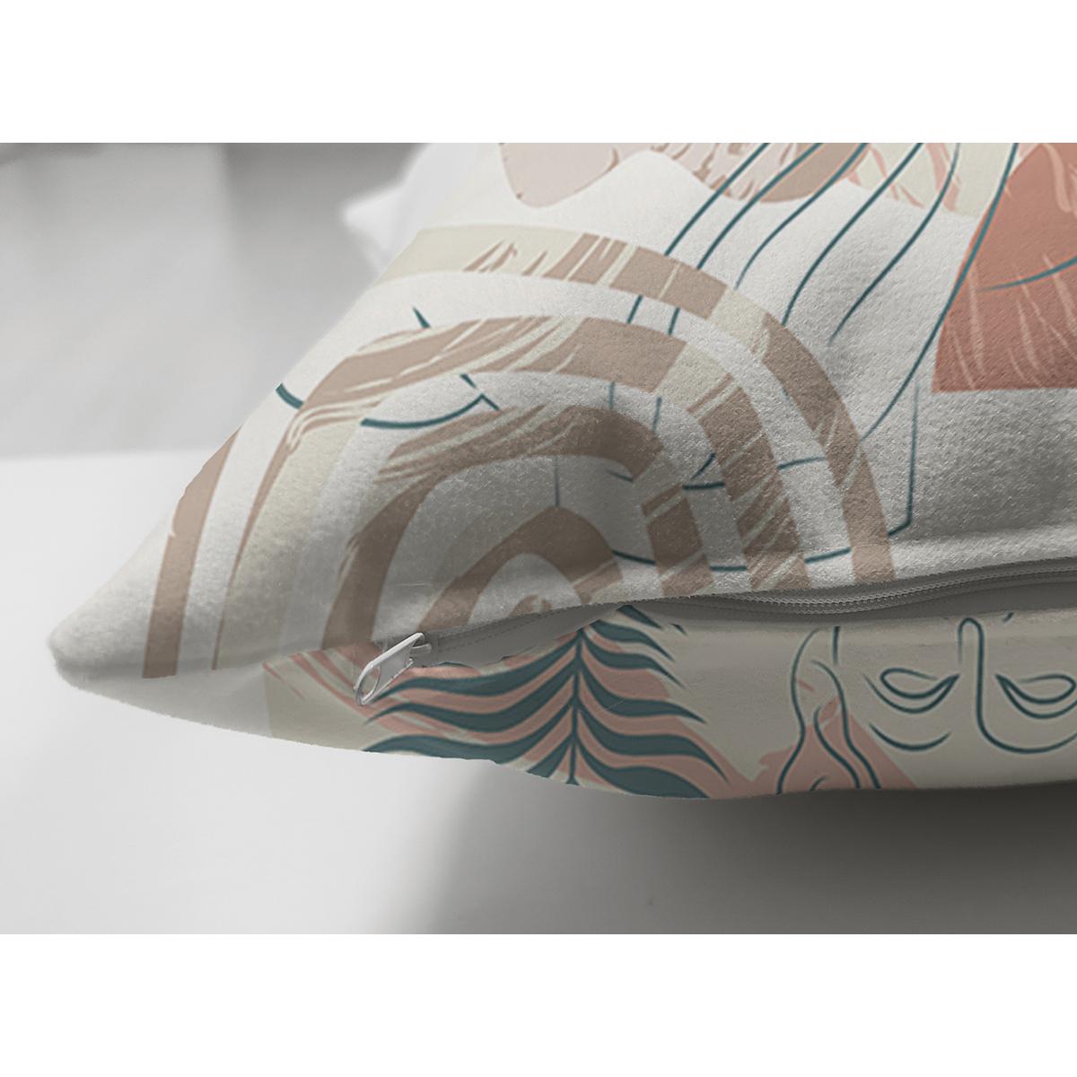 Çift Taraflı Renkli Zeminde Onedraw Antik Çizimli Dijital Baskılı Modern Süet Yastık Kırlent Kılıfı Realhomes