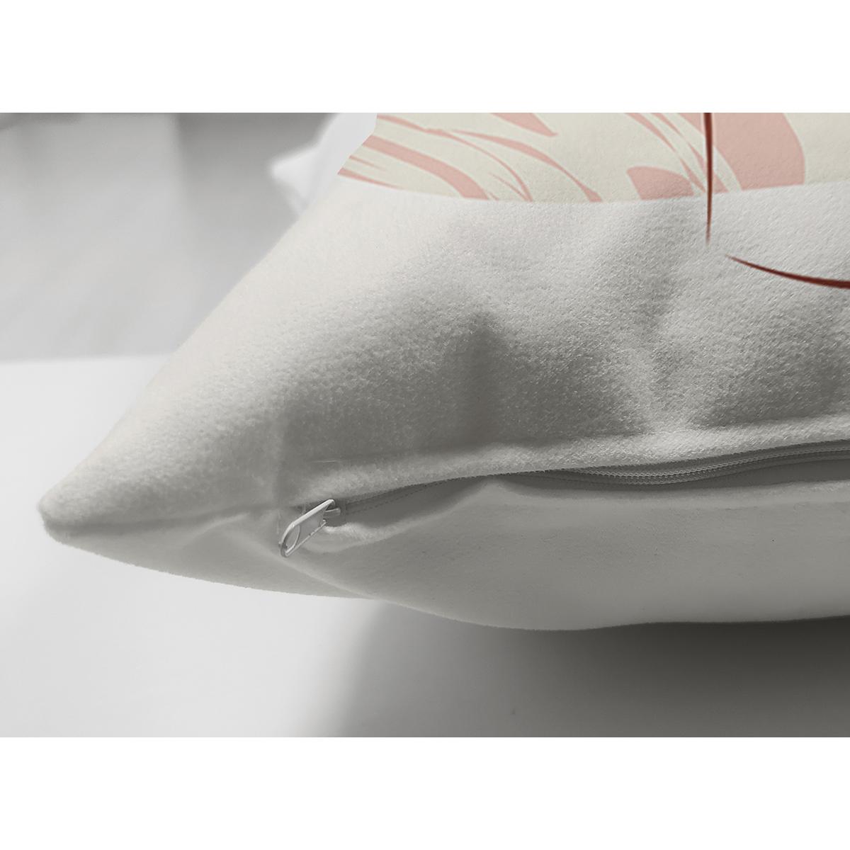 Çift Taraflı Beyaz Zeminde Soyut Çizimli Dijital Baskılı Modern Süet Yastık Kırlent Kılıfı Realhomes