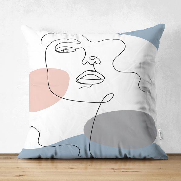 Çift Taraflı Renkli Zeminde Onedraw Çizimli Bayan Silüeti Dijital Baskılı Modern Süet Yastık Kılıfı Realhomes