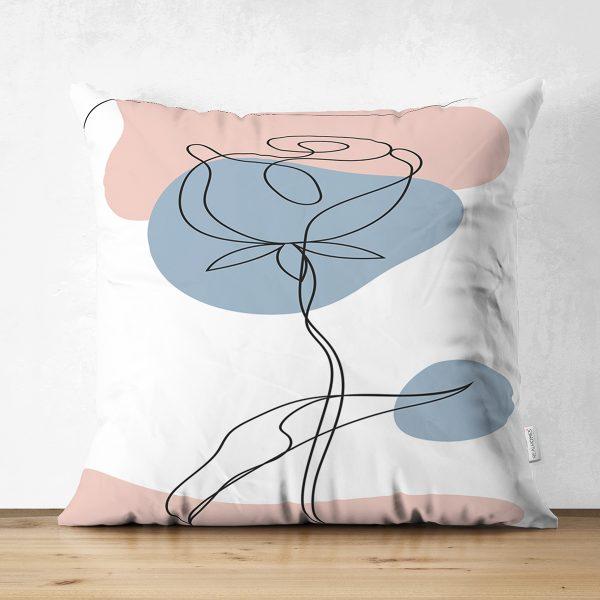 Çift Taraflı Renkli Zeminde Onedraw Çizimli Çiçek Desenli Dijital Baskılı Modern Süet Yastık Kılıfı Realhomes