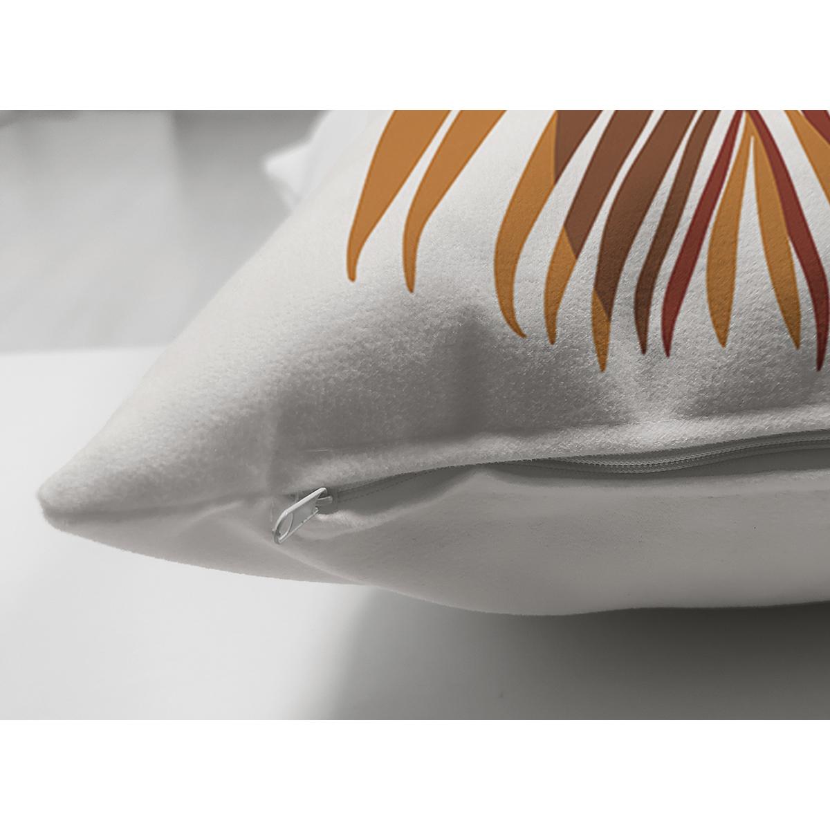 Çift Taraflı Beyaz Zeminde Renkli Yaprak Desenli Dijital Baskılı Modern Süet Yastık Kırlent Kılıfı Realhomes