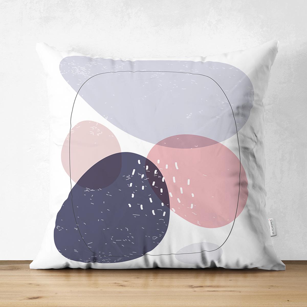 Çift Taraflı Beyaz Zeminde Renkli Oval Desenli Dijital Baskılı Modern Süet Yastık Kırlent Kılıfı Realhomes