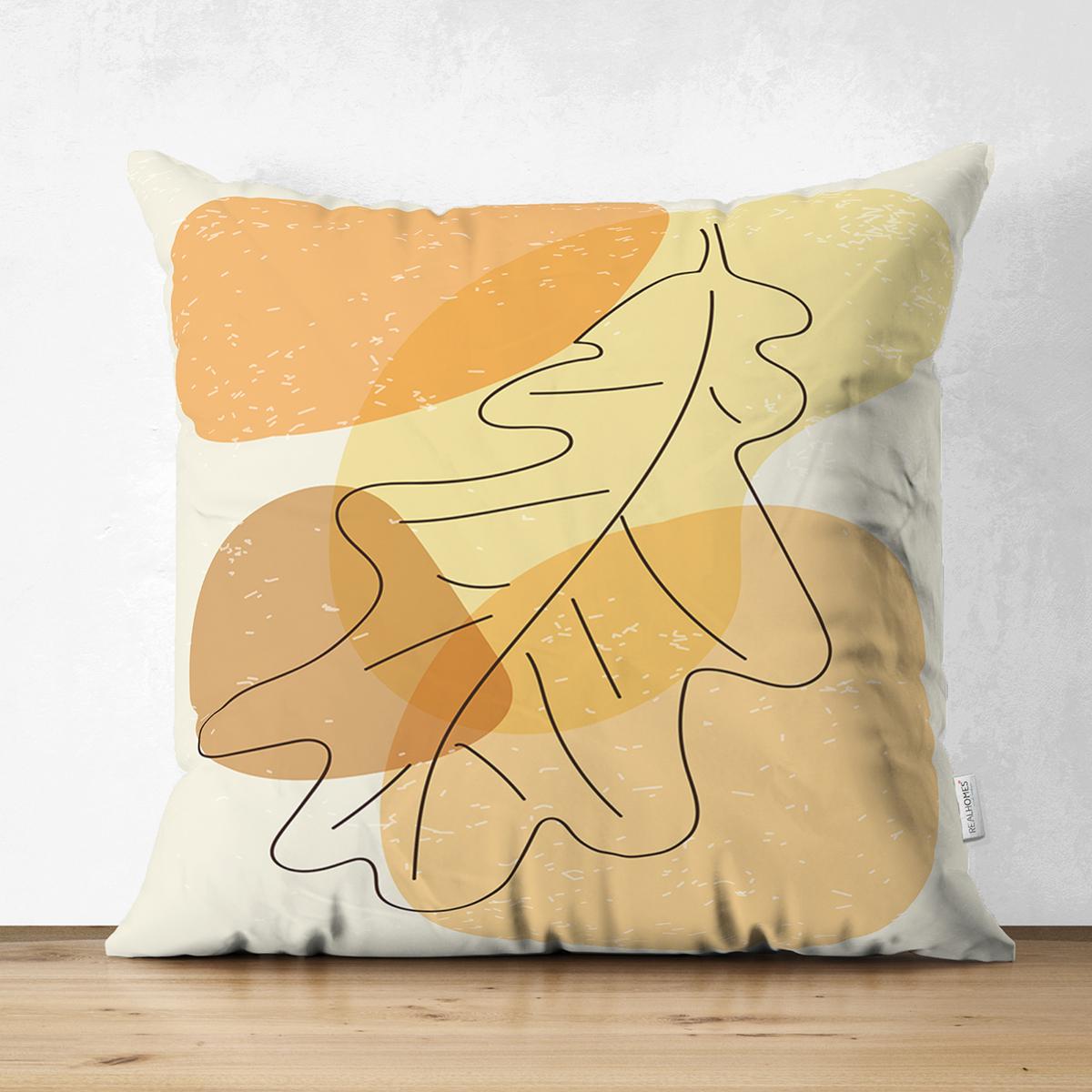 Çift Taraflı Renkli Zeminde Onedraw Çizimli Yaprak Desenli Dijital Baskılı Modern Süet Yastık Kılıfı Realhomes