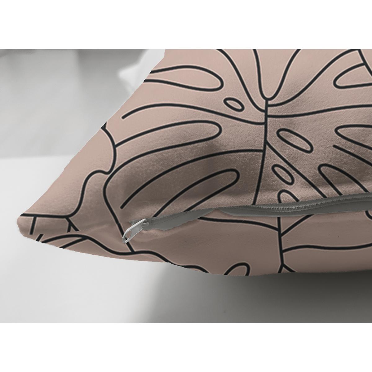 Çift Taraflı Renkli Zeminli Yaprak Desenli Dijital Baskılı Modern Süet Yastık Kırlent Kılıfı Realhomes